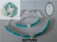 Conjunto Neptuno Idea de como combinar la gargantilla Neptuno de cuarzo aguamarina, con estrella de nácar. http://tienda-mermaidtearsshop.rhcloud.com/es/gargantillas/68-sailor-moon-inspiration.html