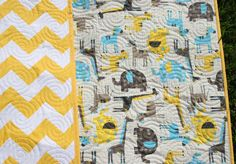 Chevron Baby Quilt Yellow Safari Animals by SunnysideDesigns2, $149.00