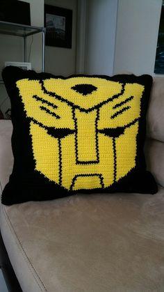 Bumblebee Transformers crochet pillow www.mommasjampackcrochetwordcharts.com