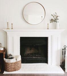 40 Best Modern Farmhouse Fireplace Mantel Decor Ideas 14 – Home Design Farmhouse Fireplace Mantels, Fireplace Mantle, Fireplace Design, Mirror Over Fireplace, Simple Fireplace, Above Fireplace Decor, Fireplace Outdoor, Fireplace Molding, Country Fireplace