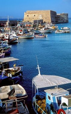 Old Harbor boats.. Heraklion, Crete Island, Greece // © Tom Dempsey / PhotoSeek.com