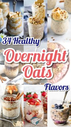 34 Delicious & Healthy Overnight Oats Flavors Decor Dolphin is part of Overnight oats healthy - Overnight Oats are high in fiber and protein, quick and easy to make, and they'll leave you feeling full! Try these 34 flavors so you'll never get bored! Strawberry Overnight Oats, Overnight Oats In A Jar, Healthy Overnight Oatmeal, Low Calorie Overnight Oats, Make Ahead Breakfast, Easy Healthy Breakfast, Healthiest Breakfast, Gourmet Recipes, Cooking Recipes