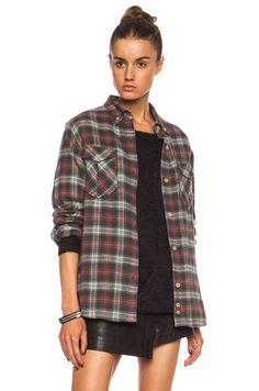 Isabel Marant Etoile|Vadisse Check Cotton-Blend Shirt in Brick