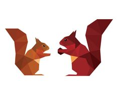Geometric nursery art Geometric squirrels Red door BeccaAnnDesigns