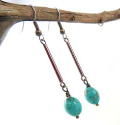 Turquoise Southwestern Dangling Earrings by ThreeSistersFoundry