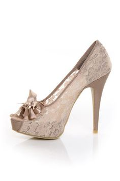 Check it out from Lulus.com! Forget the vase, sport your flowers in lovely lace when you wear the Chinese Laundry Hotline Vintage Lace Nude Peep Toe Pumps. Beige lacy fabric upper keeps it classy with a dainty peep toe topped with a stack of extravagant bows in lace, netting, and ribbon. Hidden platform peeks out at 0.75