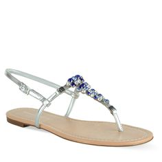Embellished Thongs - Silver - Flats - Shoes   CHARLES & KEITH