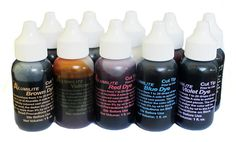 Alumilite Dye Colorants are transparent when used with clear resin and opaque when used with white resin. Of course you can customize the color by varying amount used or by using in combination with other Alumilite dyes.  Bottles are purposely not filled to the top to allow room for expansion during flight.  This Alumilite Colorants Complete Set of 10 Dyes includes Red, Orange, Yellow, Violet, Green, Blue, Black, Ocean Blue, White, and Brown, each in its own individual 1 ounce bottle. This…