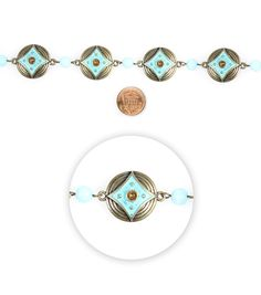 """Blue Moon Beads 7"""" Strand Metal Connector Deco Round Oxidized Brass"""