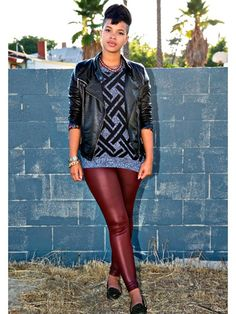 BDG Cuffed Vegan Leather Leggings, $29, urbanoutfitters.com Essential Raglan Abstract Sweater, $14.80, forever21.com Celebrity Pink Junior...