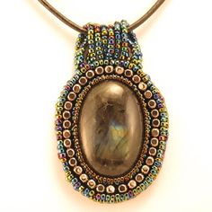 Necklace-labradorite cabochon-blue seed beads-silver cube
