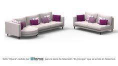 """Nuestro sofá Opera debuta en televisión, concretamente en la serie """"El Príncipe"""" que emite Telecinco todos los martes y que está siendo líder de audiencia. Fátima, una de las protagonistas de la serie tiene en el salón de su casa una composición de un sofá Opera formada por los módulos Y1 y MBX2B, junto con otro módulo suelto de un MBX1B."""