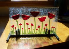 ReD PoPpIEs FuSeD GlAsS ArT PaNel by LanieMarieDesigns on Etsy, $72.00