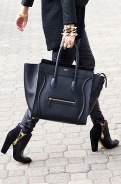Large Black Celine business Tote for everyday business or as a handbag.