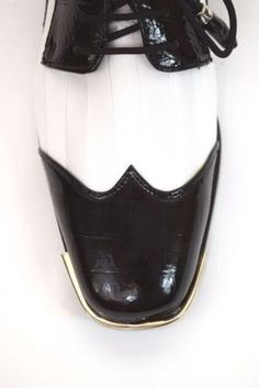 Men's Dress Shoes EXPESSIONS 6345 Black/White Oxfords Lace up Satin Stripe