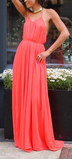 Coral Open-Back Halter Maxi Dress
