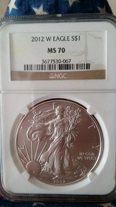 "2012 Burnished Silver Eagle ""W"" Mint Mark. Lowest silver eagle mintage in years. Price is moving now. Available at Modern Graded Coins"