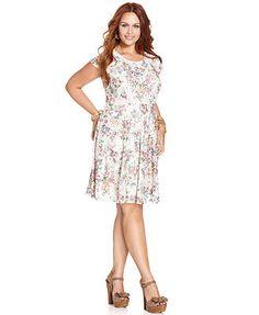 American Rag Plus Size Short-Sleeve Floral-Print A-Line Dress