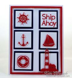 KC Impression Obsession Mini Nautical Set Good Tuesday morning. I have a fun clean and simple nautical themed card to share with you today using the Impression Obsession Mini Nautical Set , Sailboats set and Alphabet Plain Upper Case and Lower Case. These images are so cute and I thought they would be perfect cut in red and layered over crisp white and navy squares.