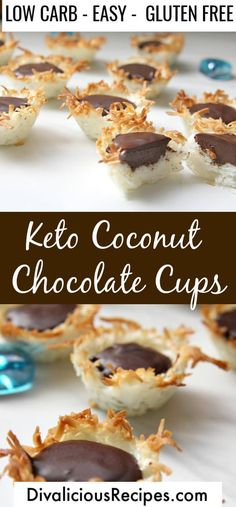 Coconut chocolate cups are an easy sweet treat and best of all are low carb and gluten free. Coconut chocolate cups are an easy sweet treat and best of all are low carb and gluten free.