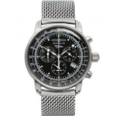 Official Zeppelin watches, full collection of men's and ladies' Zeppelin watches to buy online. Up to 5 years finance and free delivery available on Zeppelin. Gents Watches, Stylish Watches, Luxury Watches, Watches For Men, Wrist Watches, Zeppelin Watch, Herren Chronograph, Color Negra, Stainless Steel Case