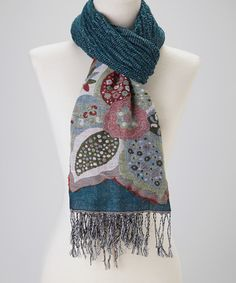 Take a look at this Dark Teal Patchwork Flower Cashmere-Silk Blend Scarf by Blue Pacific Fashion on #zulily today!