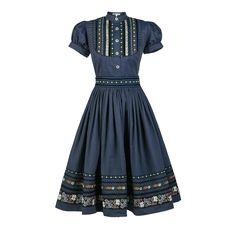 Wally Dress Hacklerblau - Dresses - Tradition - Online Shop - Lena Hoschek Online Shop