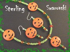 "Jack O Lantern Pumpkin Sterling Silver 24"" Beaded Necklace & Earrings - Limited Edition Green ONLY 3 Sets - Swarovski Crystal FREE SHIPPING by FindMeTreasures on Etsy"