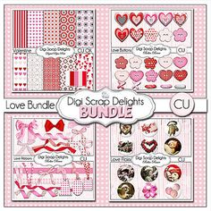 Valentine Clip Art Pink & Red Digital by DigiScrapDelights on Etsy