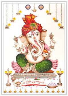 Lord Ganesha / Shree Ganesh / Shri Ganpati Poster 12 x 18 inch Rolled -- Awesome products selected by Anna Churchill Ganesha Sketch, Ganesha Drawing, Lord Ganesha Paintings, Ganesha Art, Krishna Painting, Ganesh Lord, Sri Ganesh, Indian Animals, Ganesh Photo