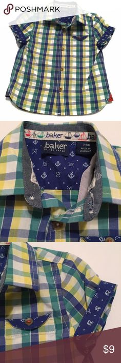 NWT Ted Baker Adorable boys size 3-6 months Ted Baker button down shirt. Plaid with anchor details on sleeve. Buttons down the front. Adorable and brand new with tags still attached. Ted Baker Shirts & Tops Button Down Shirts