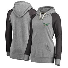 Women s NFL Pro Line Heathered Gray Philadelphia Eagles Timeless Lounge  Script Tri-Blend Pullover Hoodie 9e048a7ae
