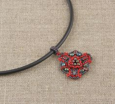 Red Green and Gray Beaded Necklace by CatchTheBeads on Etsy