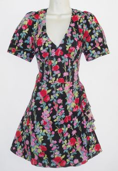 New Warehouse Summer Floral Cotton Tea Dress 14 UK Tie Back Backless