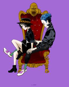 The King and Queen from Gorillaz! 2d And Noodle, Gorillaz Noodle, Sunshine In A Bag, Gorillaz Fan Art, Damon Albarn, Me Me Me Song, Music Stuff, Music Is Life, Live Action