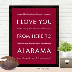 Roll Tide! War Eagle! This travel poster art print makes a great gift for Alabama or Auburn fans. You can change the background color to orange, red, blue, any color you want. We can all get along! Ro
