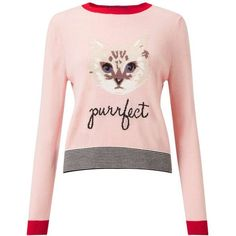 Miss Selfridge Cat Knitted Jumper found on Polyvore featuring tops, sweaters, pink, pink sweater, jumper top, pink top, pink jumper and fitted sweater