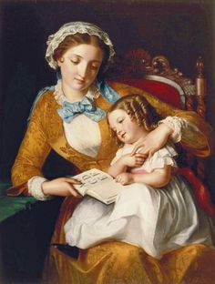 Samuel Baruch Halle.The First Lesson.  Printed circa 1855 by George Baxter (1804–1867, English).