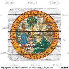Repurposed Wood Look Florida Drink Coaster