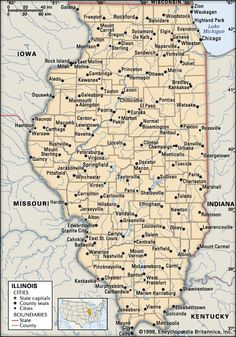 Illinois Map - Road through this state on our way to Yellowstone National Park!!!
