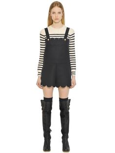 RED VALENTINO Scalloped Bonded Wool Cloth Overalls, Navy. #redvalentino #cloth #jumpsuits