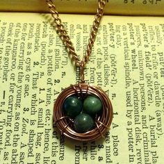HANDMADE Copper Bird's Nest Necklace with Green Eggs ($15)