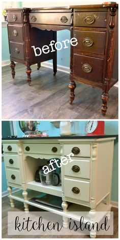 Come see how she turned this desk into a DIY Kitchen Island createandbabble.com