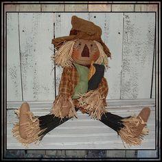Primitive folk art scarecrow rag doll by LucysLazyDayzFolkArt, $44.00 #halloween #hand embroidered