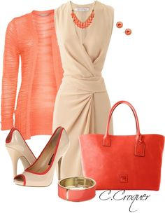 D in Coral by ccroquer liked on Polyvore- love the dress