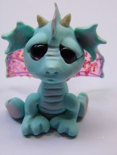 "OOAK Handmade Polymer Clay Tiny Baby Dragon ""Rainee"" Fantasy Art Doll by Woodlandkreatures"