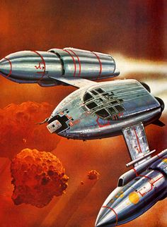 painting by Bob Layzell of the 'Avery-Frost Orion' Terran Cruiser for Stewart Cowley's Spacecraft 2000 to 2100 AD - A Terran Trade Authority Handbook (1978)