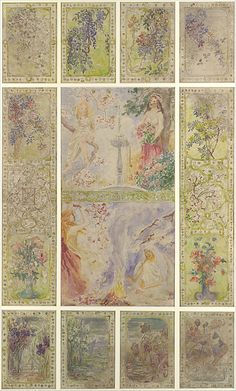 'The Four Seasons' (circa Watercolour and gouache by Agnes F. Northrop Louis Comfort Tiffany ( ) for Tiffany Glass and Decorating Company Image and text. Tiffany Stained Glass, Tiffany Glass, Louis Comfort Tiffany, Stained Glass Designs, Chalk Pencil, Four Seasons, American Art, Art Decor, Decoration