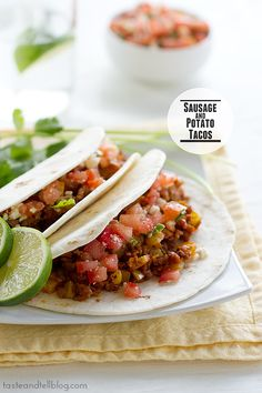 Sausage & potato tacos...I think I would just use chorizo instead of Italian sausage, but I'm down to try both