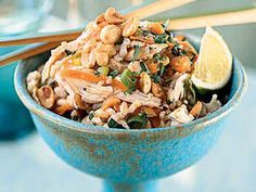Cook the brown rice in plenty of water so it won't be sticky. Serve this brown rice chicken salad dish with lime wedges.